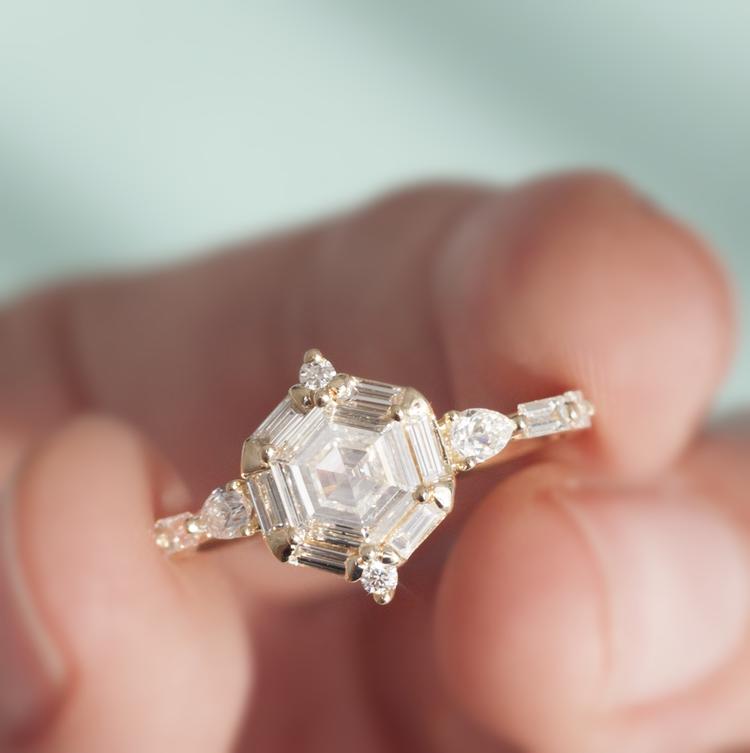 Photo of Hexagon Diamond Engagement Ring — ANASTASSIA SEL