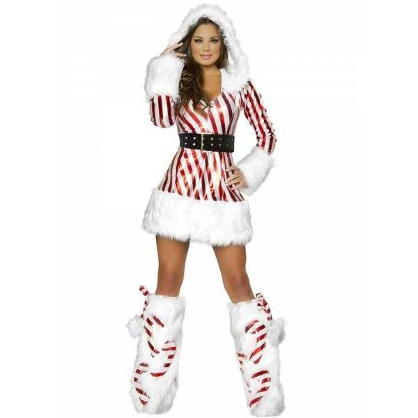 2 Pieces Long Sleeves Hooded Christmas Fancy Dress Outfits for Women ...