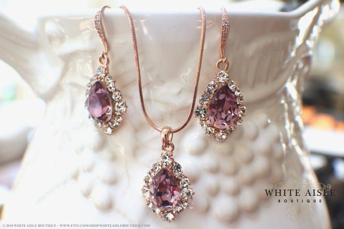 519fac7c14091 Antique Pink Rose Gold Bridal Jewelry Set Custom Swarovski Crystal Pendant  Earrings Bracelet Hair Comb Hair Pins Art Deco Wedding Jewelry