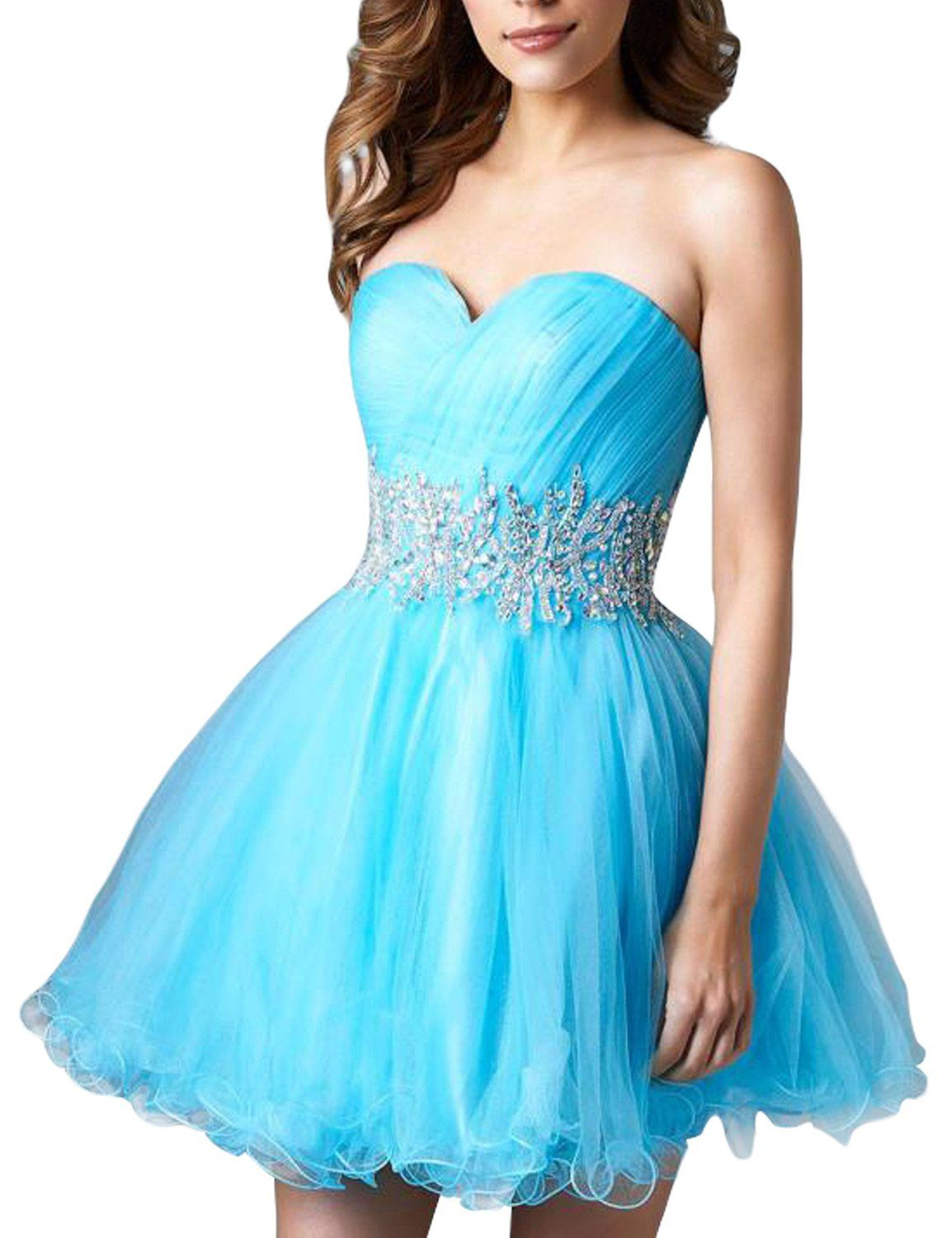 Seasonmall womenus short prom dresses two piece a line tulle
