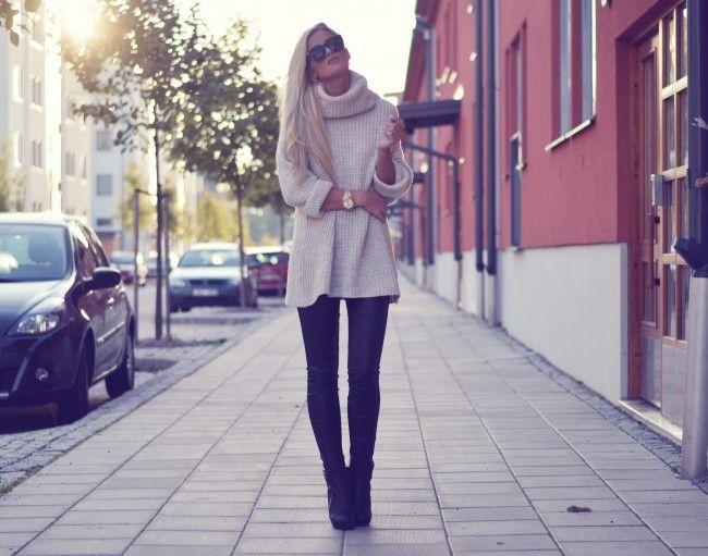 Long, chunky sweater!