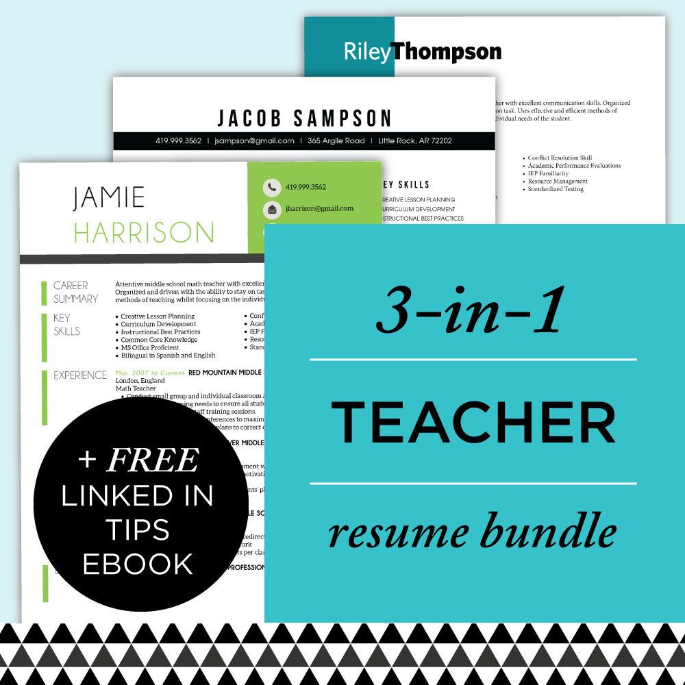 Teacher Resume Template Bundle  Resume Template Package Cv