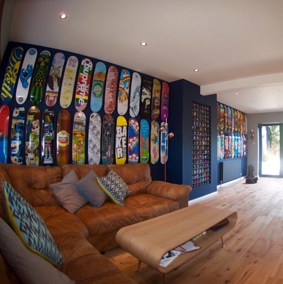 Skateboard Lounge, & Copper & Walnut Kitchen. Check Out