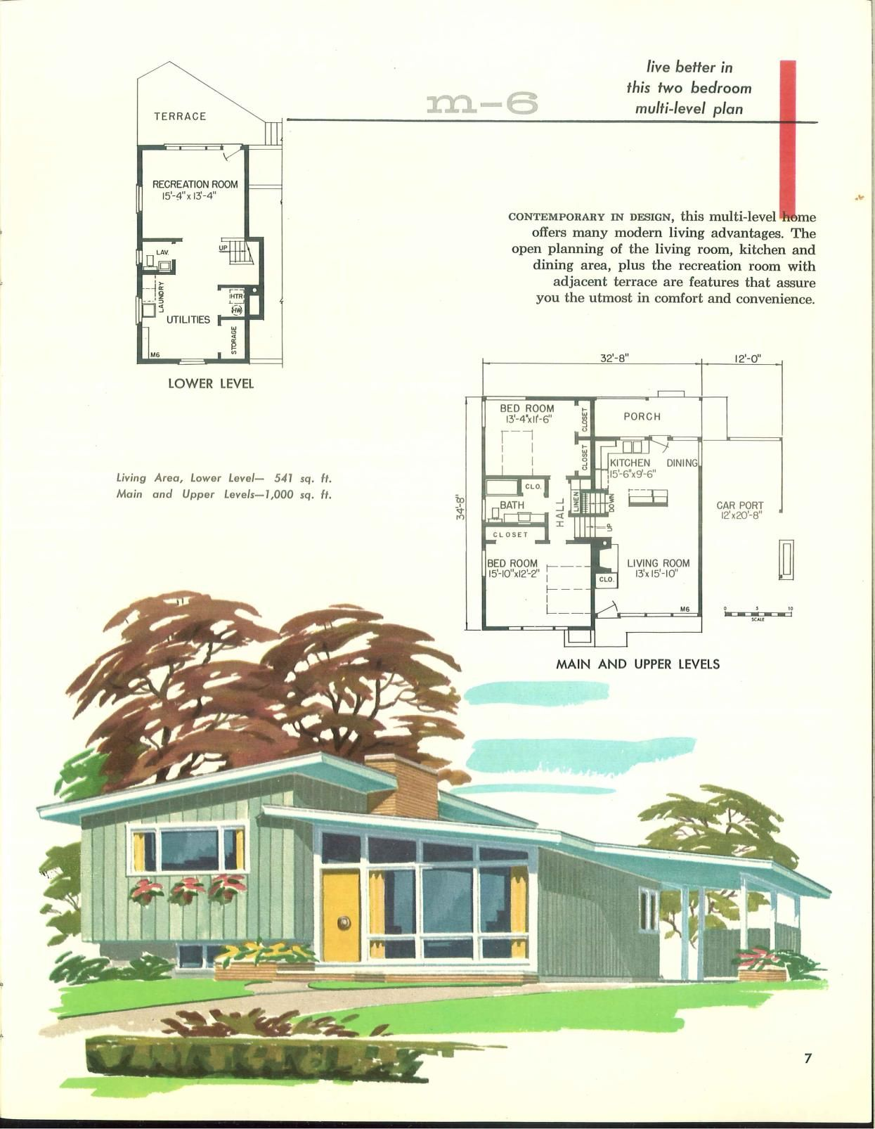 Pin By Paul On Vintage Architecture Vintage House Plans Mid Century Modern House Plans How To Plan