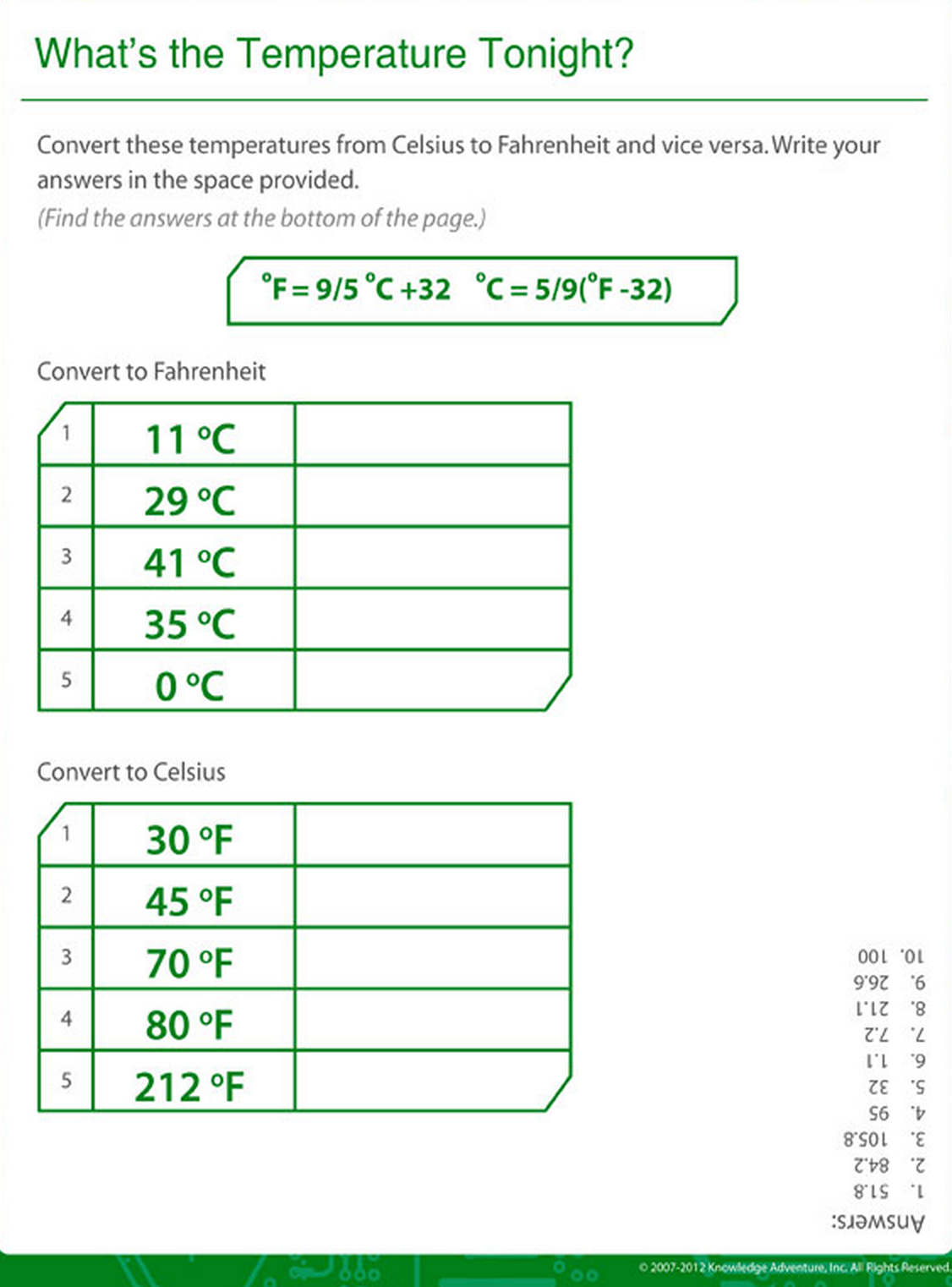 Temperature Conversion Worksheet Answer Key