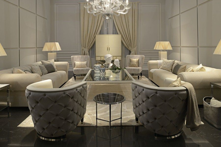 Luxury Modern Style Classic Accents Italian Vienna Sofas Crystal