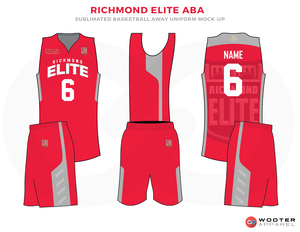 Richmond Elite Aba Red Grey And White Basketball Uniforms Jersey And Shorts Basketball Uniforms Design Basketball Uniforms Jersey Design