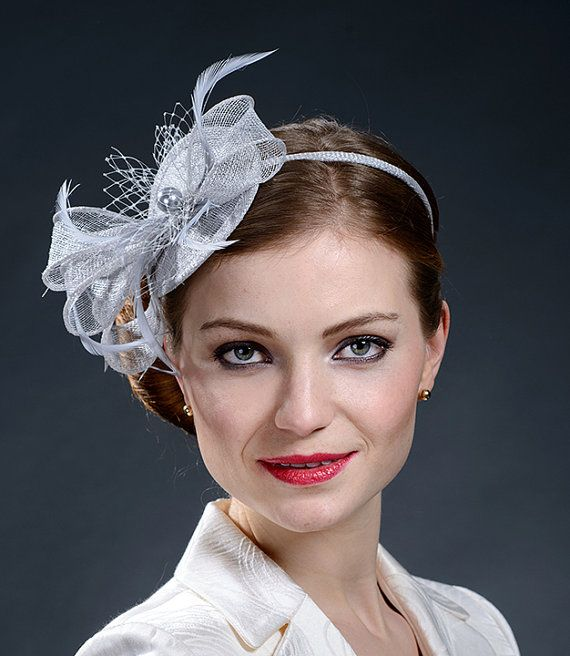 Light grey silver gray fascinator hat for Derby f1fd757c81d