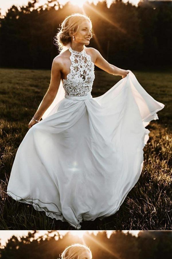 Admirable A-Line Wedding Dresses, Wedding Dresses Chiffon, Sleeveless Wedding Dresses, Lace Wedding Dresses -