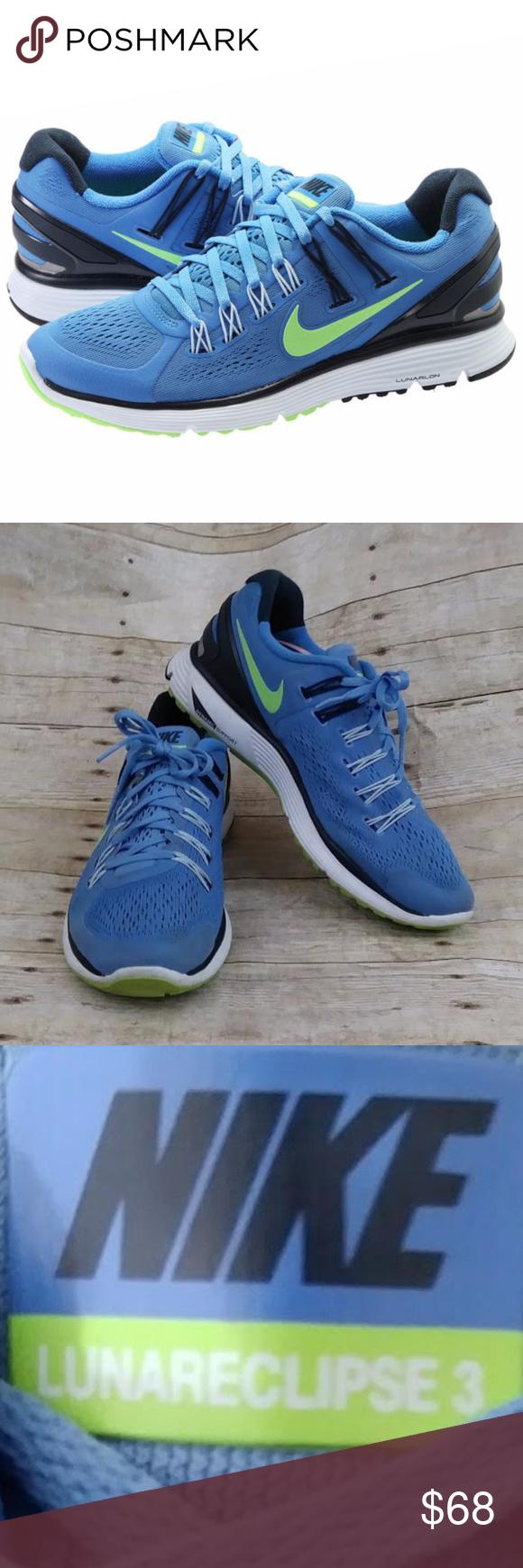 Nike Lunareclipse 3 Running Shoe Size 10 Snug Fit Color Blue And