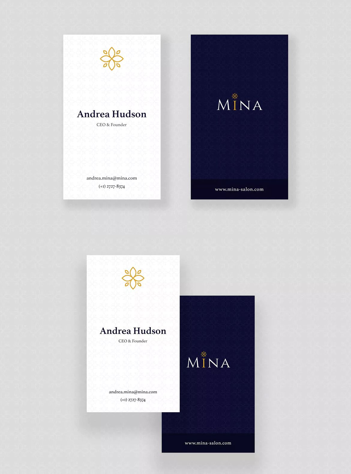 Mina Beauty - Business Card Template PSD | Business Card Templates ...