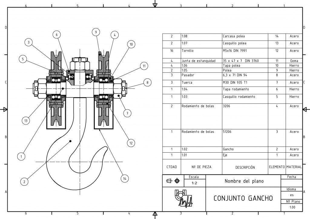 1 00 Page 001 2 Http Dibujotecnico Edu Umh Es 2014 07 17 Plano Conjunto Gancho Tecnicas De Dibujo Plano Conjunto Plano De Conjunto