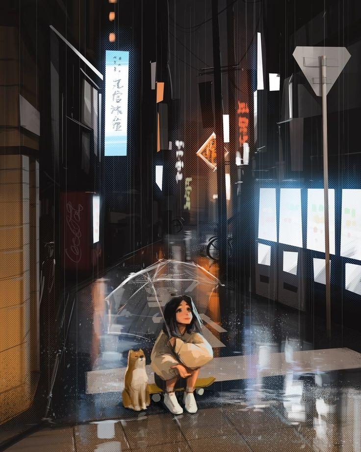 Rainy Night, an art print by Sam Yang