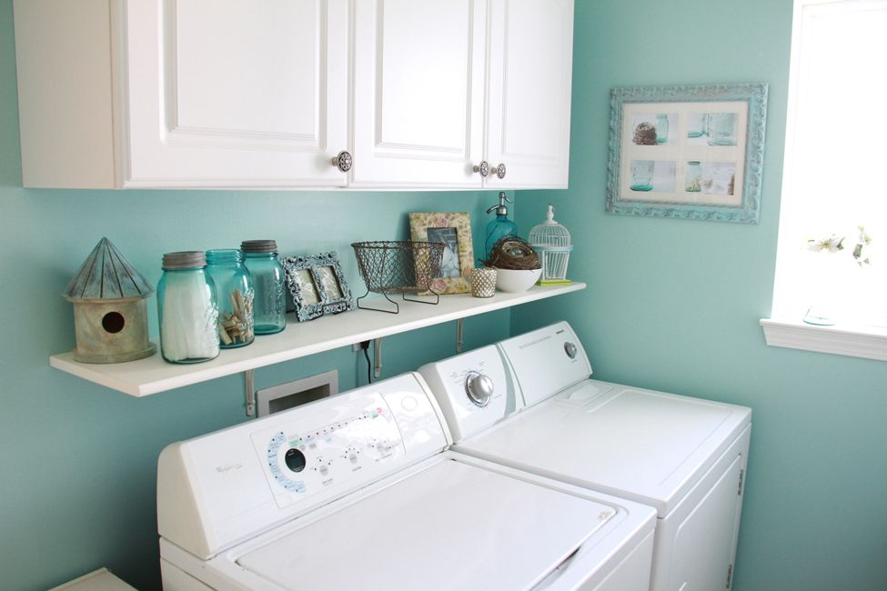 perfect for the laundry area -shelving and cabinet