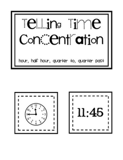 Telling time flash cards and other measurement activities
