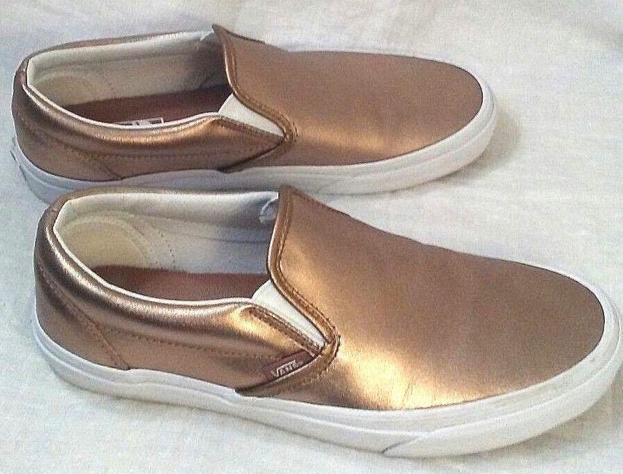 d85c24cd39 Vans Womens 8.5 Mens 7 Slip On Skate Shoe Sneakers Leather Metallic Gold  721278  VANS  CasualShoes