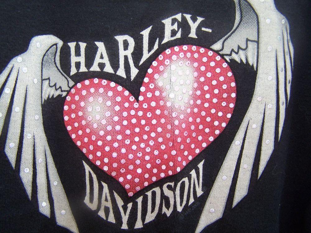 Womens Harley-Davidson Graphic Black Tank Top Netting Sz Small Heart Wings #HarleyDavidson #TankCami
