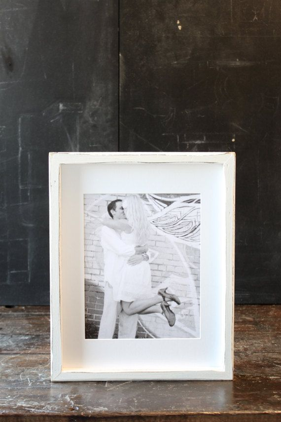 Wedding Photo Display Frame 11x14 Distressed Handmade Rustic White Picture Frame Wedding Photo Display Frame Display 11x14 Picture Frame