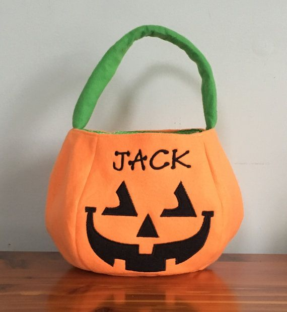 Trick or Treat Bag Halloween Bag Pumpkin Bag by KLMKreations Party - decorate halloween bags