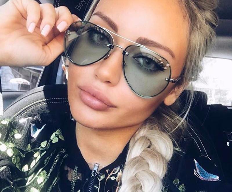 Men Women Mirrored Sunglasses Rimless Glasses Oversized Clear Lens Sunglasses