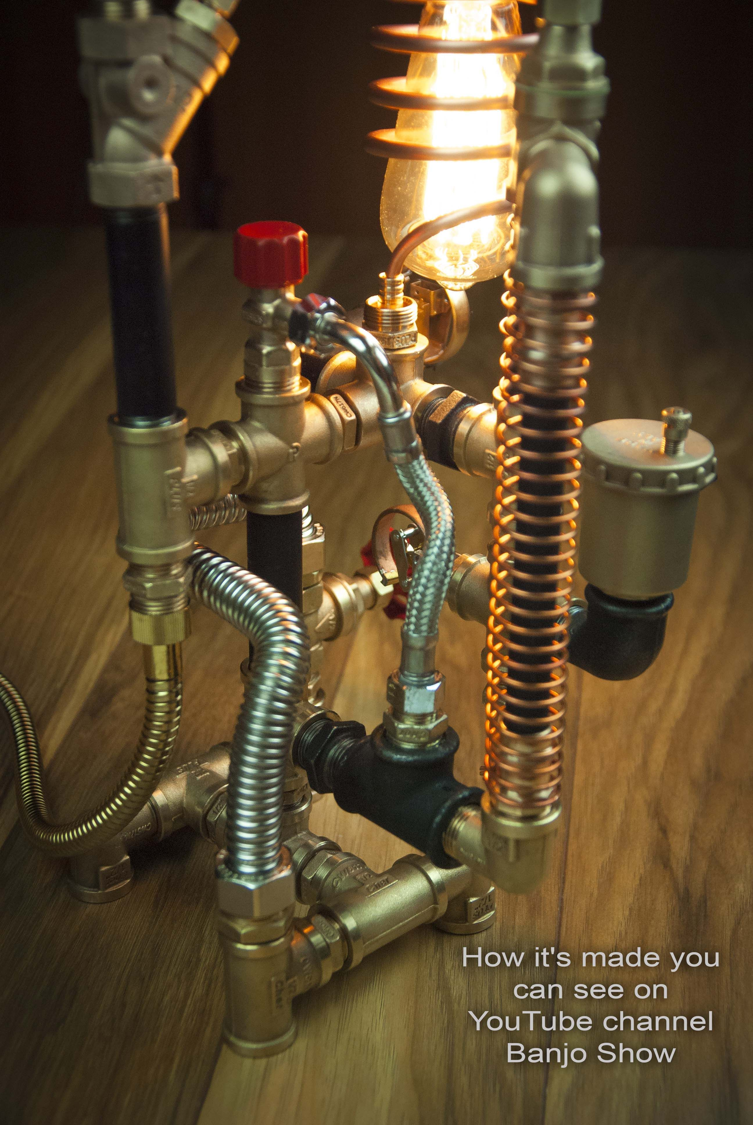 Пин на доске Steampunk DIY Industrial Pipe Lamp #3