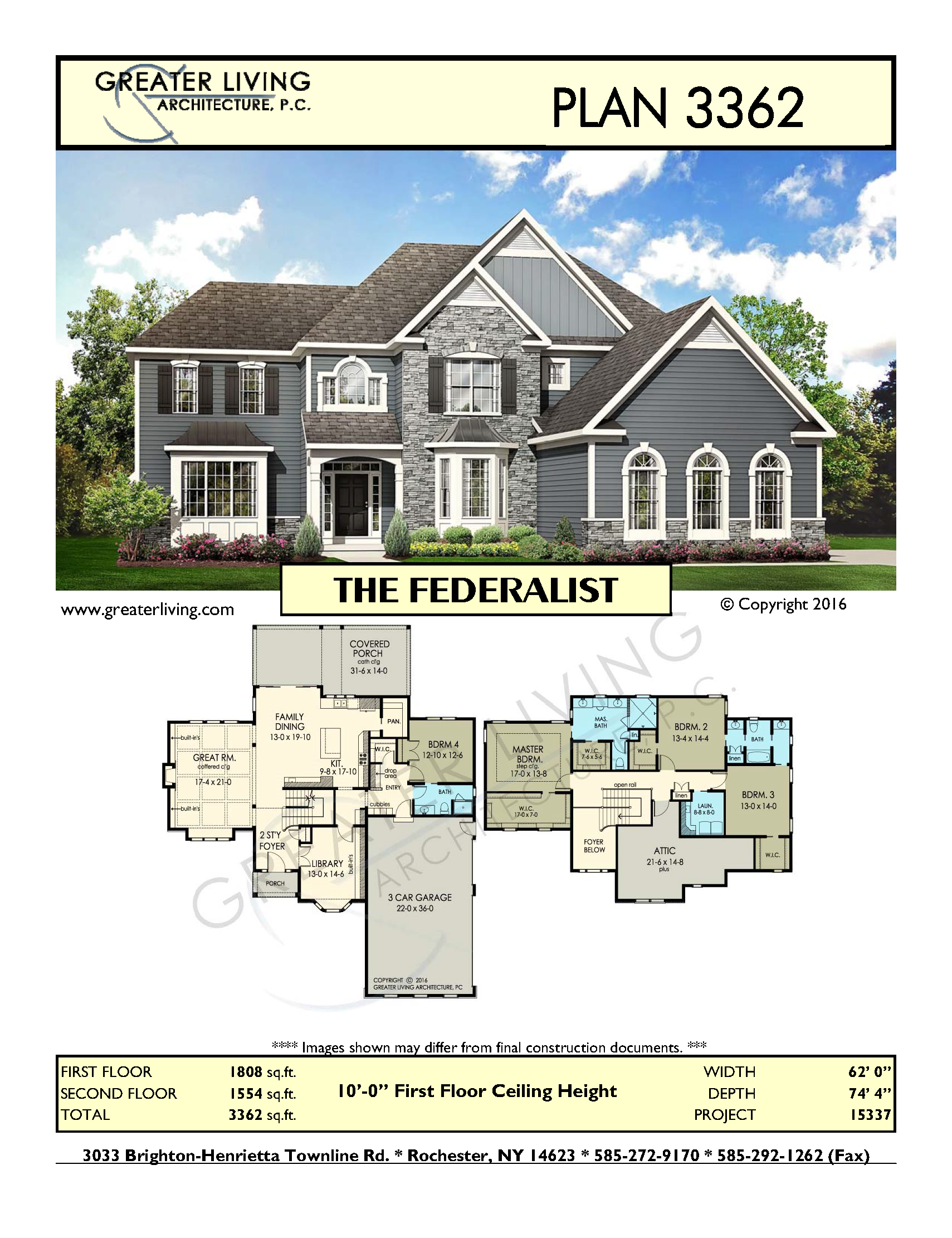 Plan 3362 THE FEDERALIST Two Story House Plan Greater Living