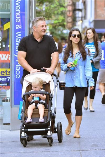 Alec Baldwin and wife Hilaria Baldwin stepped out with their daughter, Carmen Baldwin, in New York City on Sept. 20, 2015.