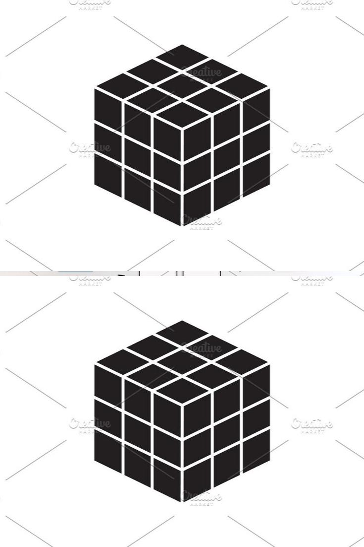 Rubik S Cube Vector Black Icon Rubiks Cube Cube Toy Cube