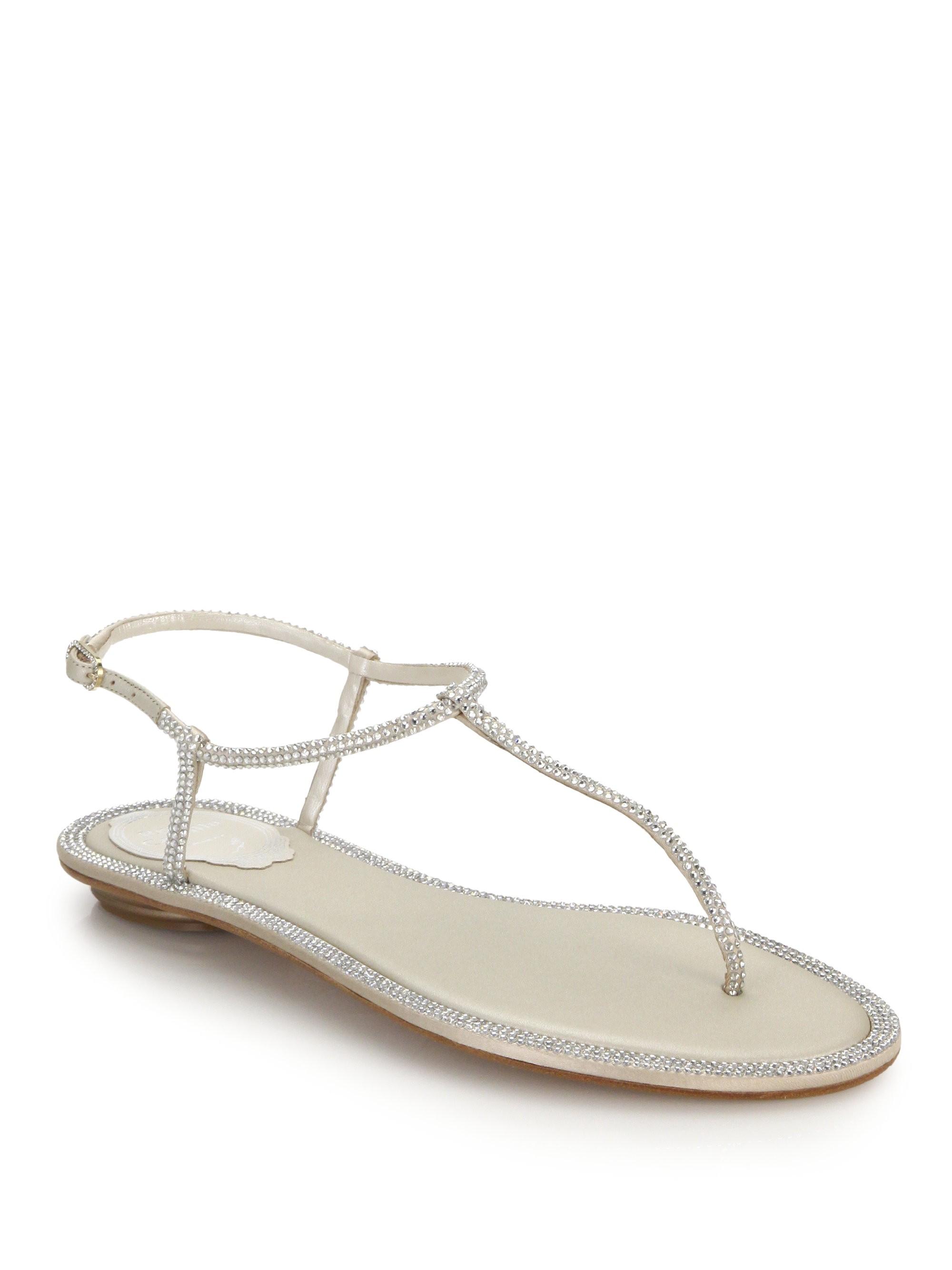 c0c4c3432202 Rene Caovilla Crystal-Embellished Satin T-Strap Sandals - Beige 38.5 (8.5)