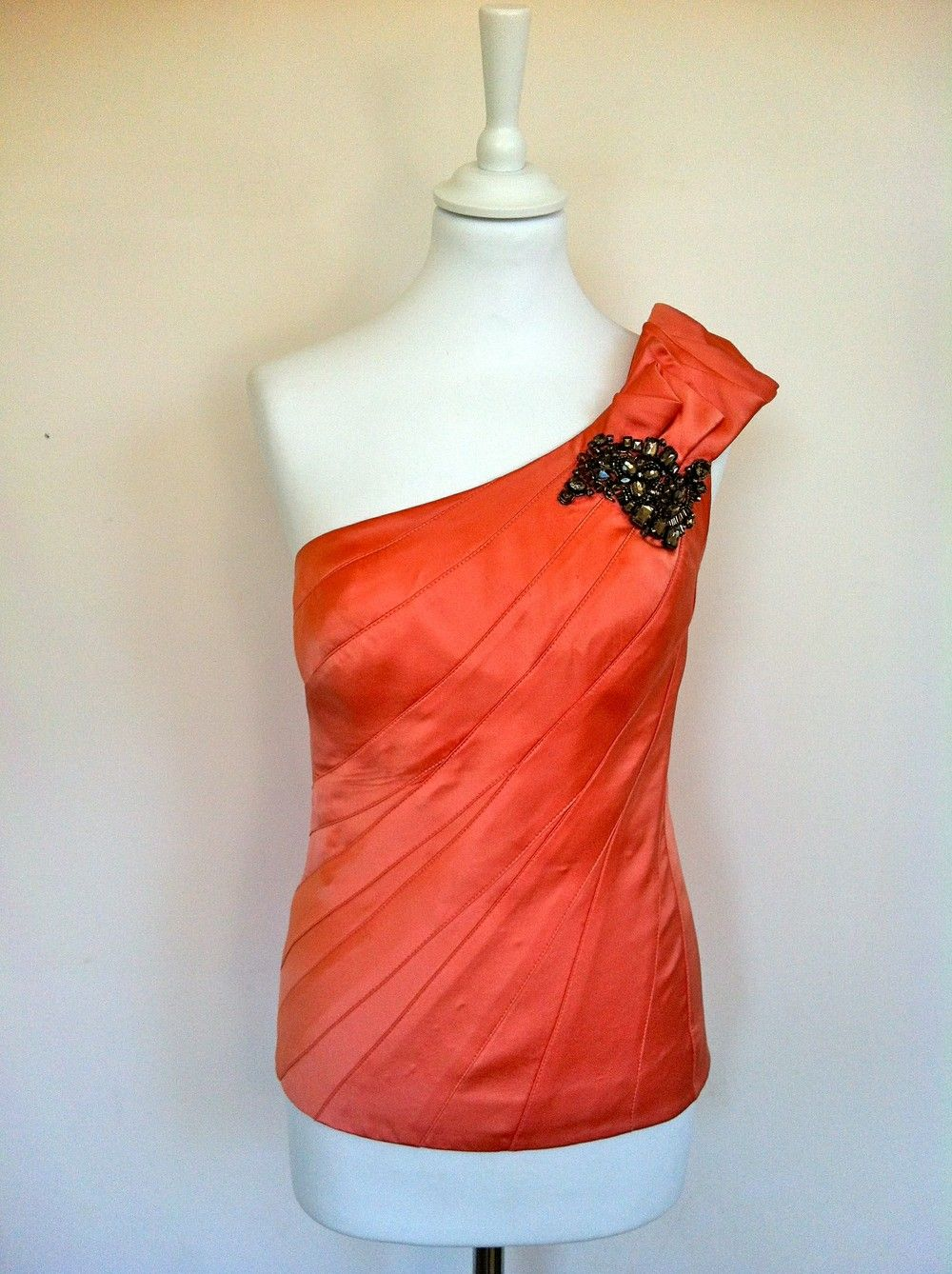 Karen Millen Salmon Pink Silk Top With Embellishments via The Queen Bee. Click on the image to see more!