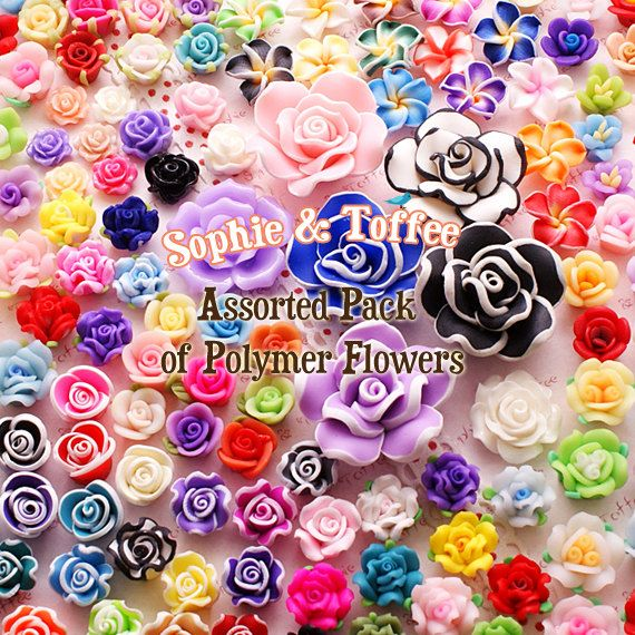 Polymer Clay Flower Cabochon Mix Assorted Rose Assortment Set Decoden Starter Pack Jewelry Supplies (30pcs) on Etsy, $14.47
