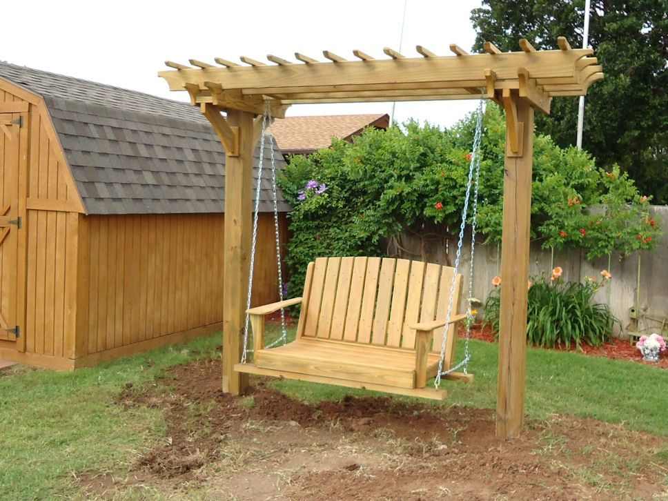 Pergola swings and bower swing carpentry plans arbor plans - Como hacer columpios de madera ...