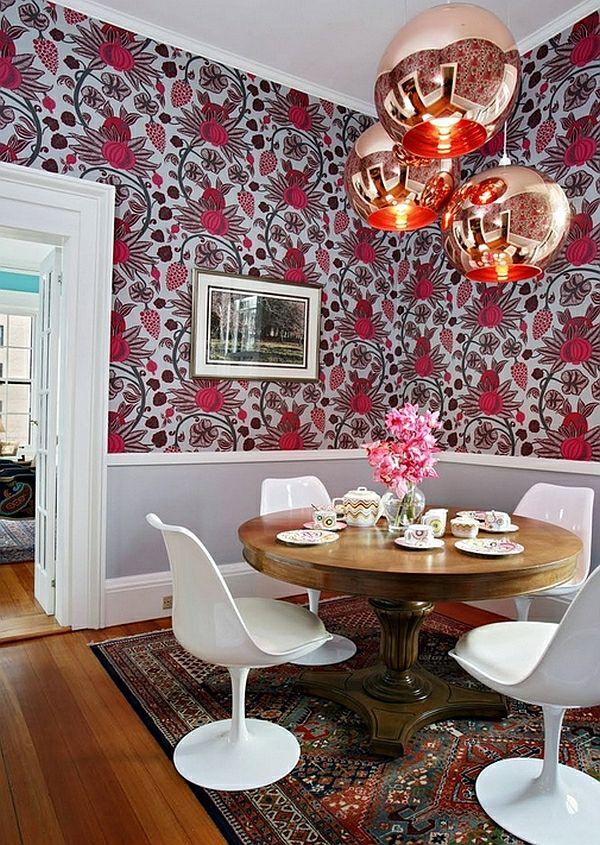 50 Einrichtungsideen Für Kleine Esszimmer   Esszimmer Esstisch Tapeten  Blumenmuster Edel Lampe