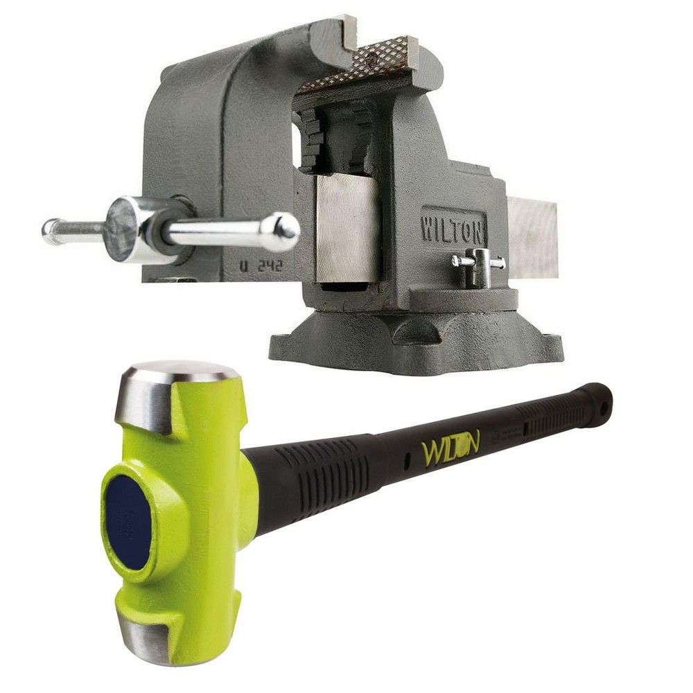 Wilton Ws8 8 Inch Swivel Base Steel Bench Vise W 10 Pound Steel Sledge Hammer Bench Vise Steel