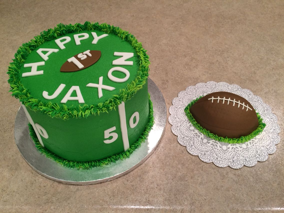 1st Birthday Football Field Cake And Football Smash Cake Made By