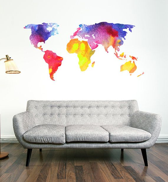 Watercolour world map wall decal by campfirewallgraphics on etsy watercolour world map wall decal by campfirewallgraphics on etsy gumiabroncs Image collections