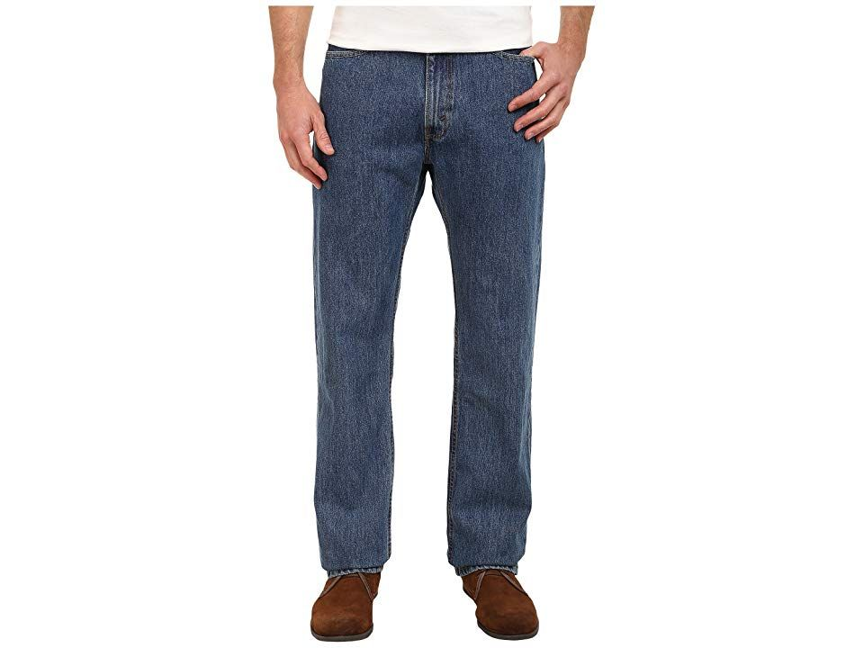 Levi's(r) Big & Tall Big Tall 505(r) Regular (Medium Stonewash) Men's Jeans. The classic Levi's look that's always in style. 505 jeans fit comfortably straight through the seat  thigh and leg. Straight-cut waistband sits just below the waist. Sits evenly on both the front and back. Classic  five-pocket design. Leather brand patch at back waist. Signature arcuate stitch at back pockets. Belt loop waistband. Zip fly and button c