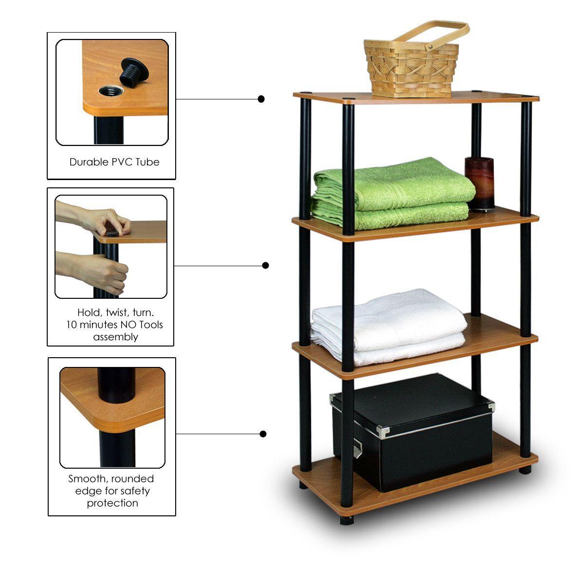 Furinno Ultra LC/BK 4-Tier Toolless Multipurpose Storage Shelf, Light Cherry/Black (13156LC/BK)