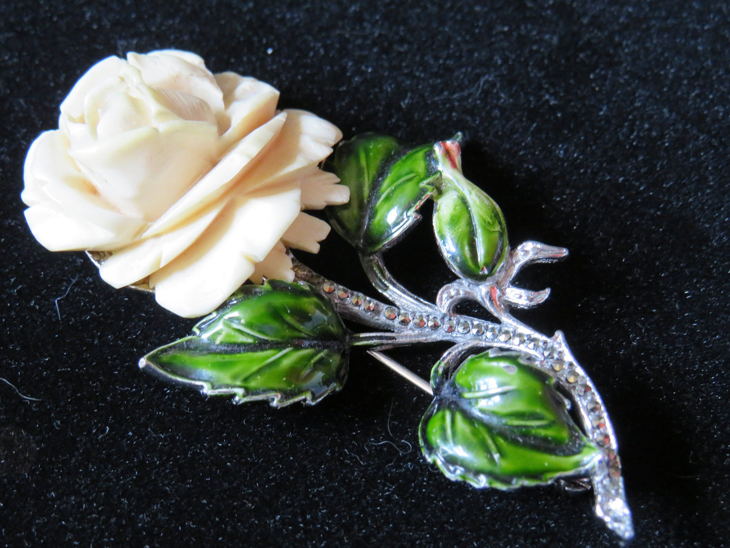 Excited To Share The Latest Addition To My Etsy Shop Vintage Marcasite Enamel Rose Brooch Stamped Bjl Jewelry Broo Bohemian Jewellery Marcasite Vintage