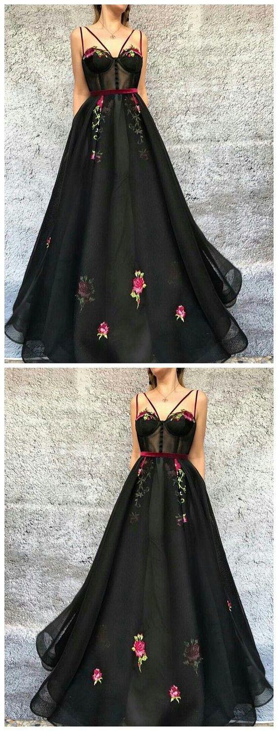 Unique prom dressorganza formal dressblack aline long prom dress