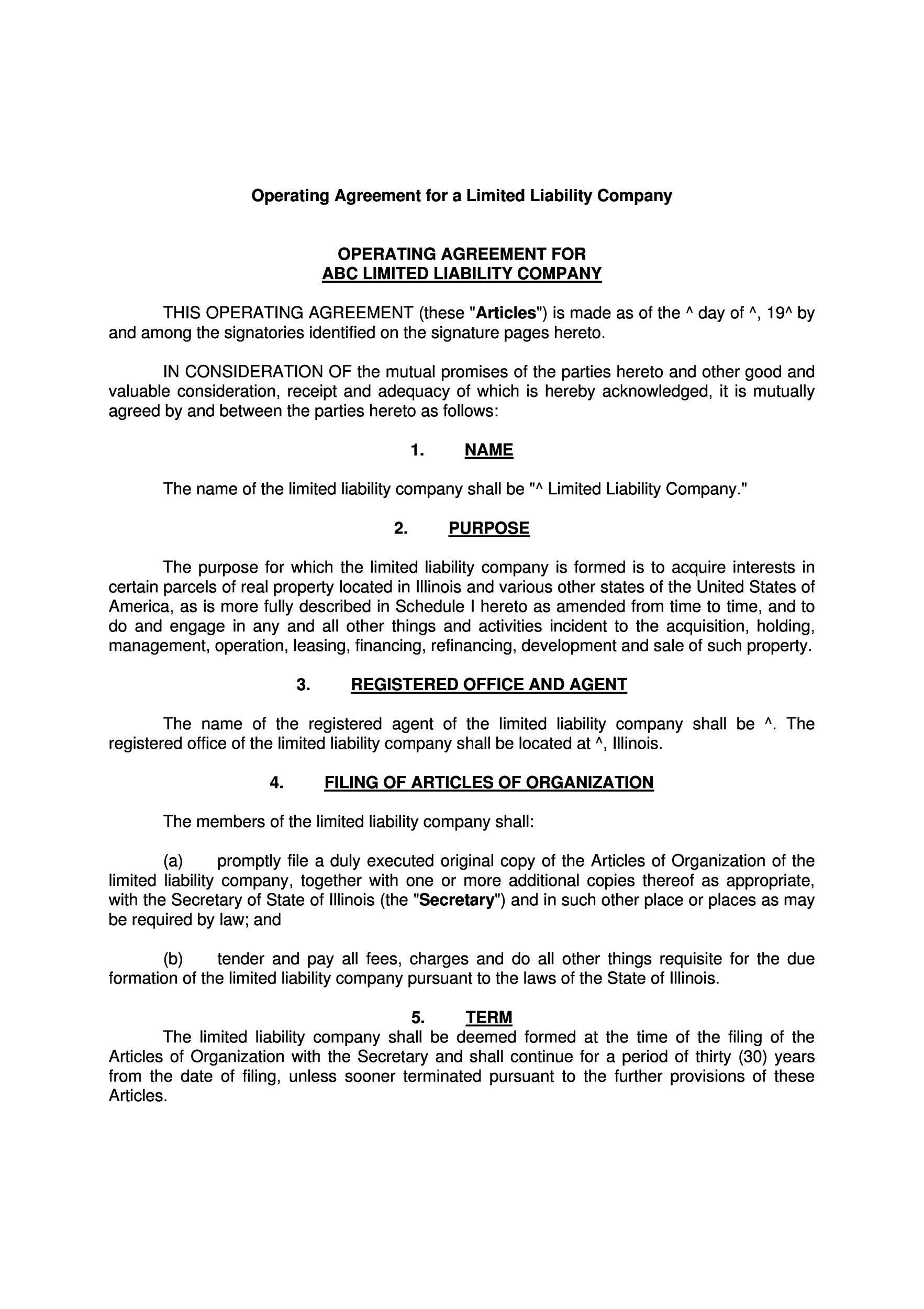 Operating Agreement Template For Corporation Gallery Agreement Document Templates Templates