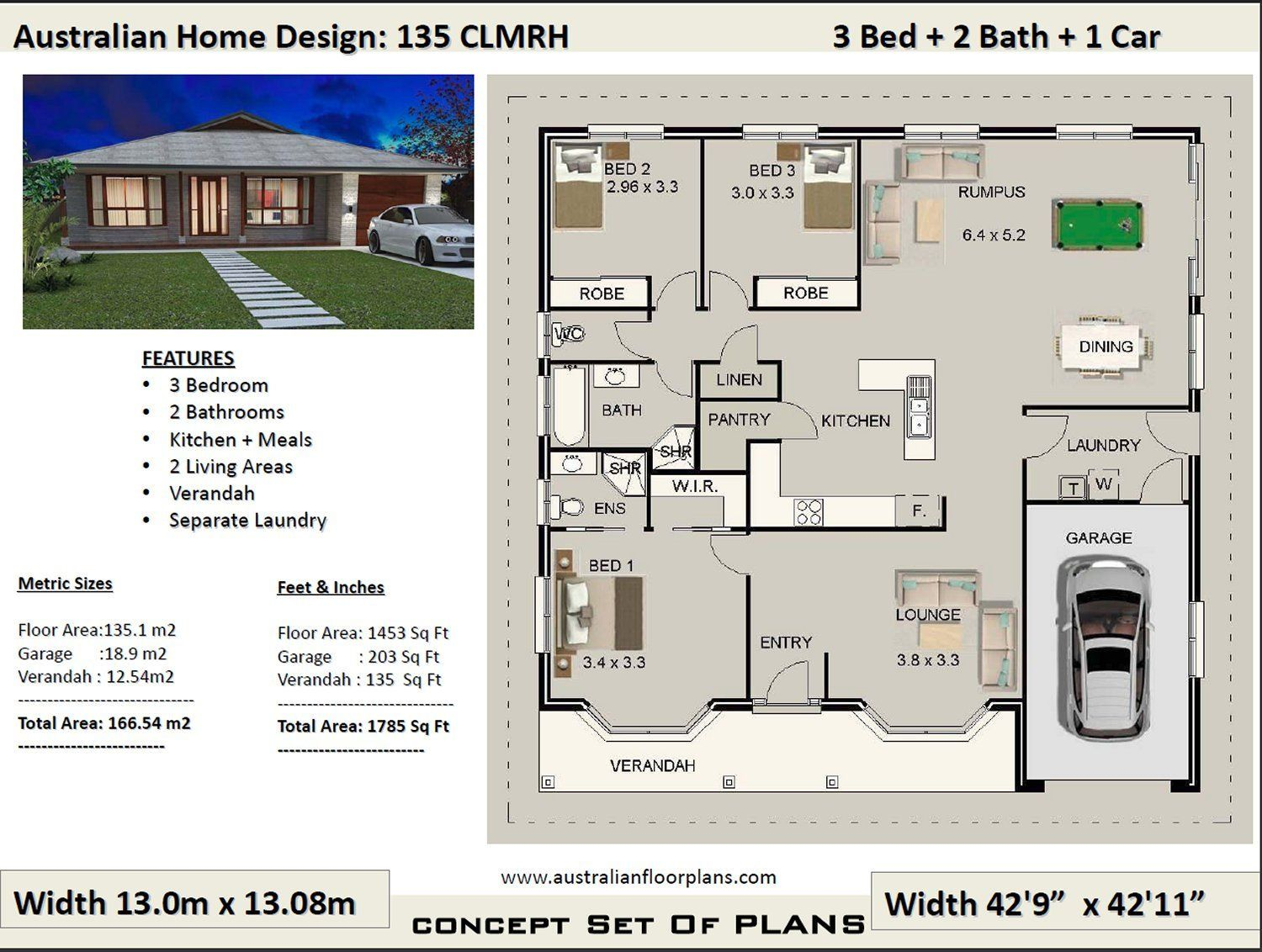 3 Bedroom Plans 166m2 1785 Sq Ft 3 Bedroom House Plans