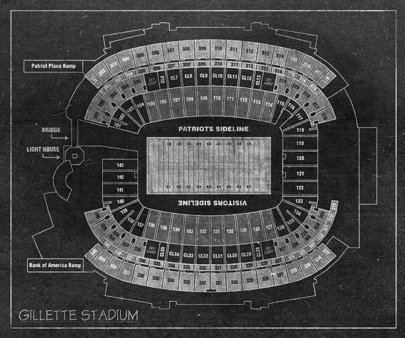 Vintage Print of Gillette Stadium Seating Chart on Photo Paper