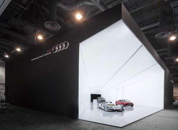 Striking Exhibition Stand By Audi Shows A Cone Of Light With Audis Premium Cars