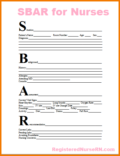 Download Sbar Report Sheet Template 10 For Nurse To