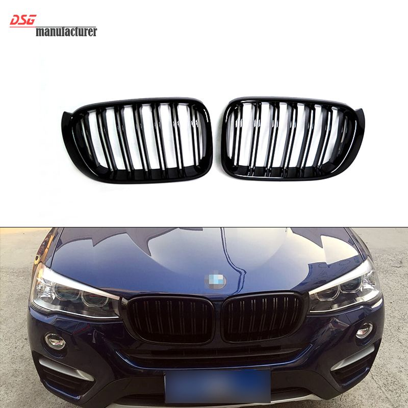 Glossy Black X3 X4 Dual Grid Front Kidney Grill For Bmw 2014 2015
