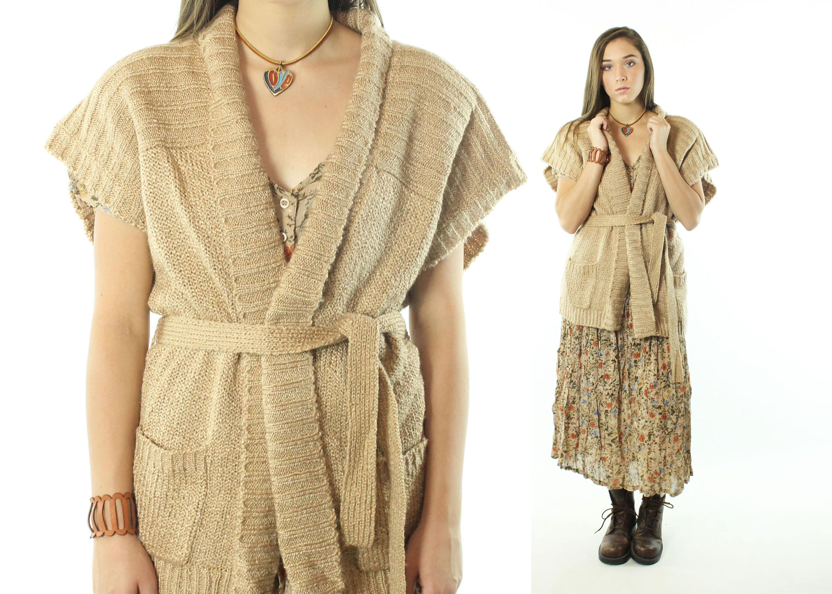 $52, Vintage 70s Cardigan Sweater Belted Wrap Short Sleeve Tan ...
