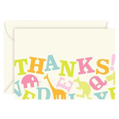 Animal Alphabet Thank You Cards (50 count)