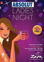 Absolut Ladies Night  @Zara Lamey Absolut Ladies Night at Zara Tapas Bar this wednesday. Foot-Tapping music and much more. Club rules apply.