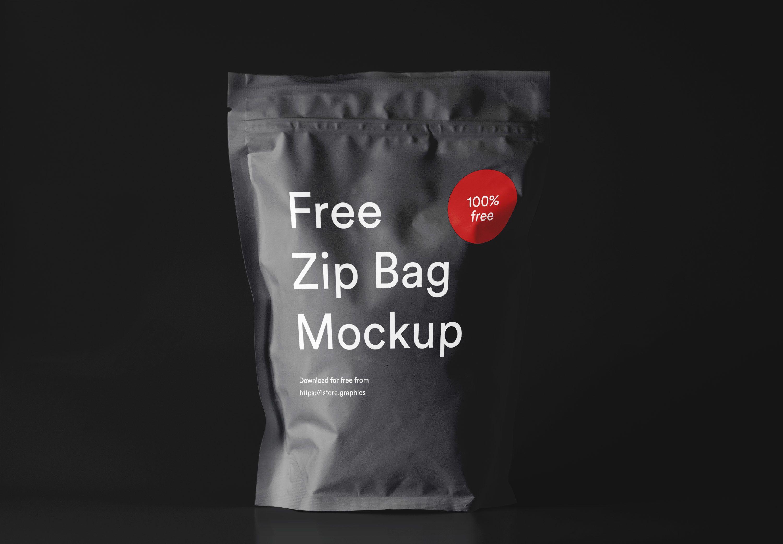 Download Free Zip Bag Mockup Freebie Packaging Food Branding Presentation Bag Mockup Zipped Bag Business Card Mock Up